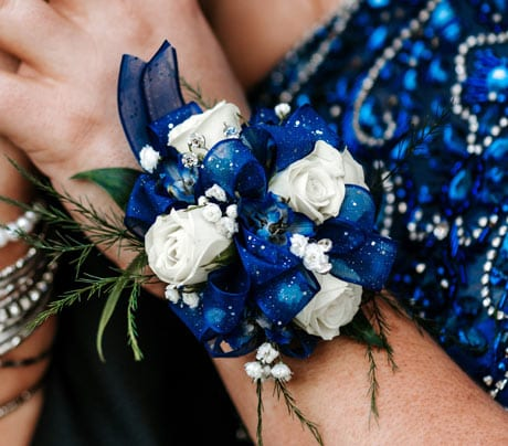blue corsage prom